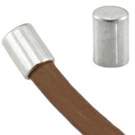4 x DQ metaal eindkapje tube vorm Antiek zilver  ca. 6 x 4 mm (voor 3mm draad)
