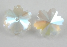 Preciosa kraal snowflake Kristal AB 14mm gat: 0,5mm
