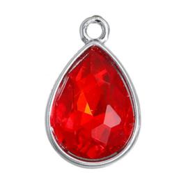 Geboorte steen hanger prachtig kristal facet Juli Robijn Rood 19x12 mm
