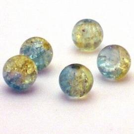 30  stuks crackle glas kralen 8mm blauw geel