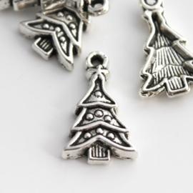 6 x Tibetaans zilveren kerstboom 23 x 14 x 1,5mm oogje: 3,5mm