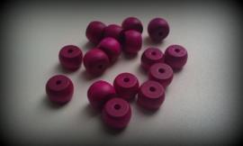 10 Stuks houten kraal donker roze 9 x 12 mm