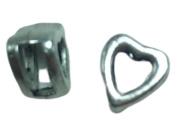 10 x hartje metalen leer schuiver platinum 9 mm binnenzijde 5,5 mm