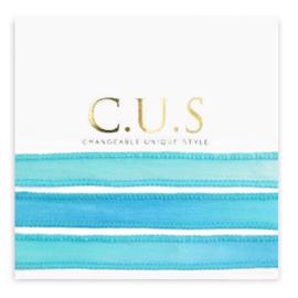 1 x C.U.S sieraden lint Dip dye turquoise blue ca. 70x1.2cm