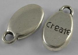 """10 stuks Tibetaans zilveren bedeltjes """"Create"""" 8,5 x 15,5 x 3mm gat 2,5 mm"""
