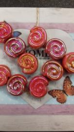 10 Stuks gemeleerde glans slakkenhuis oranje/zalm/roze 15 mm