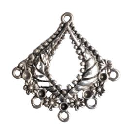 2 x oorbellen ornamentje zilver kleur 30 x 29 mm oogje: 1,5mm