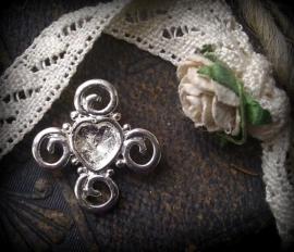 Per stuk metalen zilveren hanger/tussenzetsel hart 19 mm