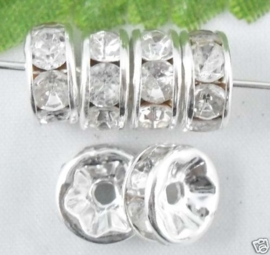 50 stuks Verzilverde Kristal Rondellen 8 mm blank
