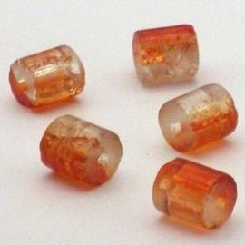 30 stuks crackle glas kralen cilinder vorm 7 x 8mm oranje transparant