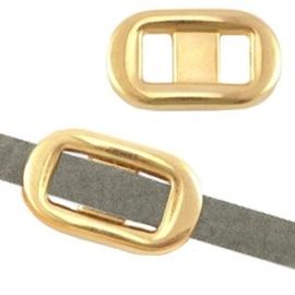 1x DQ metaal schuiver gesp (voor 5mm plat leer) Goud 22x13 mm