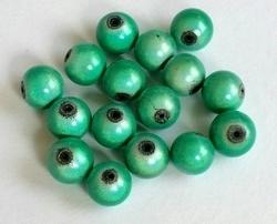 10 stuks 3D miracle kraal,  turqoise groen rond 8mm gat c.a. 1,5mm