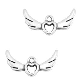 1 x Bedels DQ metaal heart with wings Antiek zilver 24x14 mm