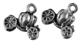 10x Tibetaans zilveren bedeltjes van een pompoen koets 13 x 13 x 5mm Gat 2mm