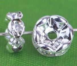 50 stuks platinum rondellen 6 x 3 mm kristal kleur gat: 1,5mm