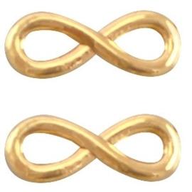 2 x DQ metaal infinity bedel 15 x 6  mm Goud
