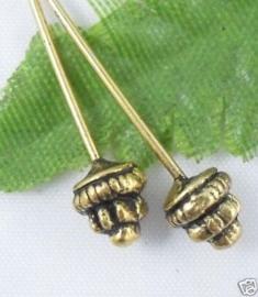 25 x Bloemen nietstiften goud 50 mm x 0,8mm Tibetaans zilver