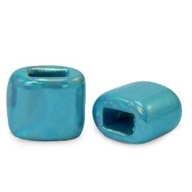 1 x C.U.S sieraden schuiver DQ Grieks keramiek 11x12mm Mosaic blue