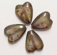 10 x Glaskraal hart glanzend transparant bruin 16 mm