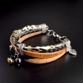 Prachtige armband, verstelbaar met metalen elementen bedel made with love
