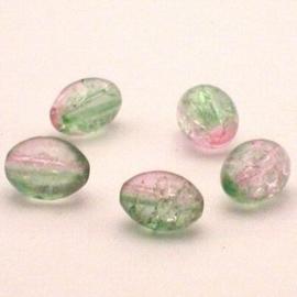 30 stuks crackle glas kralen ovaal 11 x 8,5mm groen licht roze
