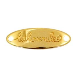 1 x Bedels DQ metaal tussenstuk ovaal let love rule  Goud ♥