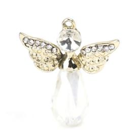Metalen en Crystal hanger bedel engel met strass christal goud 28mm x 25mm oogje 1,5mm