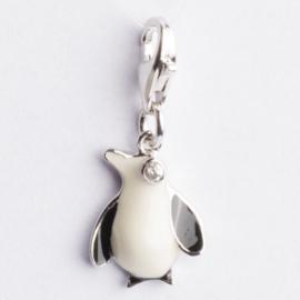 Be Charmed bedel Pinguïn met karabijnsluiting ca. 25 x 11mm oogje: 3mm  nikkelvrij en voorzien van een rhodium laag.