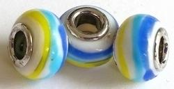 Per stuk Glaskraal European style wit met geel/blauw/aqua streep 14 mm