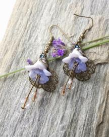 Prachtige bronzen bloemenoorbellen ♥