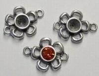 Per stuk Antiek zilveren metalen tussenzetsel bloem 27 mm
