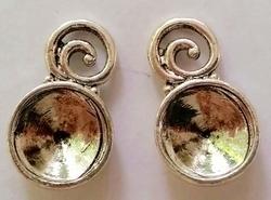 Per stuk Antiek zilveren metalen hanger 21 mm ruimte voor 10 mm plaksteen