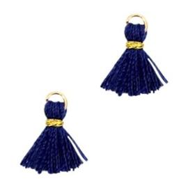 2 x Mini kwastjes Ibiza style Goud-Donker blauw c.a 1 cm