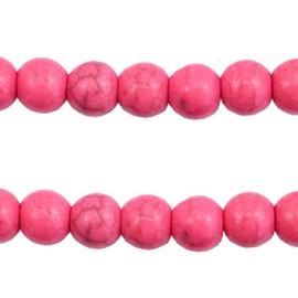 5x Keramiek turquoise kralen rond 6mm Hot pink