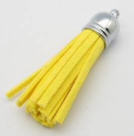 Prachtig kwastje van suede  en messing  12 x 56mm geel