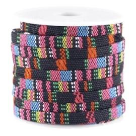 40 cm Aztec plat 5mm Zwart hot pink