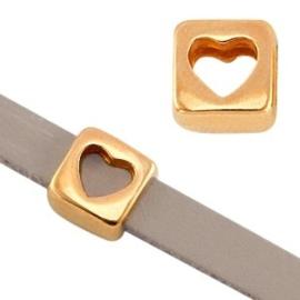 1x DQ metaal schuiver vierkant hart Rosé goud Ø5.2×2.2mm