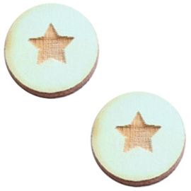 2 x Houten cabochon basic 12 mm star small Sea green