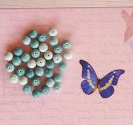 15 stuks Keramische Glaskralen 8mm Turquoise mix