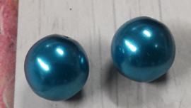 20 x prachtige glaskralen kleur turquoise 10 mm gat  1 mm