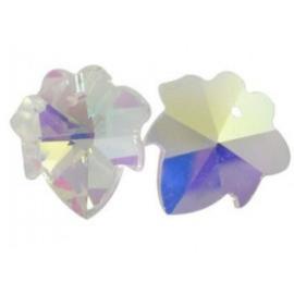 Per stuk Handgeslepen glashanger blad met AB coating 16mm at: 1mm