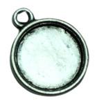 2x DQ Tibetaans Zilveren Cabochon Houder binnenzijde: 11 mm