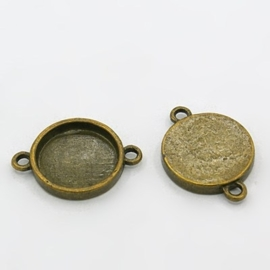 2 x Houder O: Prachtige Camée of Cabochon houder gat: 2mm geel koper kleur. Binnenzijde: 15mm