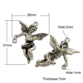 4 x Tibetaans zilveren bedeltje van een engeltje  37 x 26 x 7mm oogje: 1~2mm