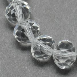 Streng met c.a. 72 stuks  briolette kristal kraal 10 x 7mm gat 1mm Clear