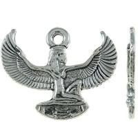 4 x Tibetaans zilveren Egyptische ISIS (staat voor vruchtbaarheid)  20mm x 16mm x 1.5mm gat: 2mm.