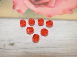 15 stuks Facet Rode kraal ca. 6mm  Gat: 1mm
