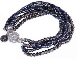 Workshoppakket DoubleBeads armband met glas kristal kralen, borduurkralen en magnetische sluiting met strass