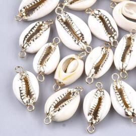 Schelp kralen tussenstuk specials Kauri Cream ivory grey-gold