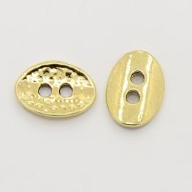 10 x Metalen knoop tussenzetsel goudkleur 14 x 10 x 1mm gat: 2mm